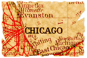 old map of Chicago, Illinois